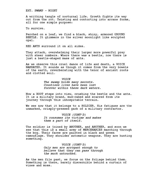 Quatre pages de script du film Swamp Thing avortu00e9 de Joel ...