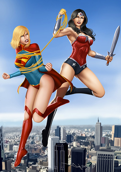 DC_Fan_Art_20_commission__wonder_woman_vs_super_girl