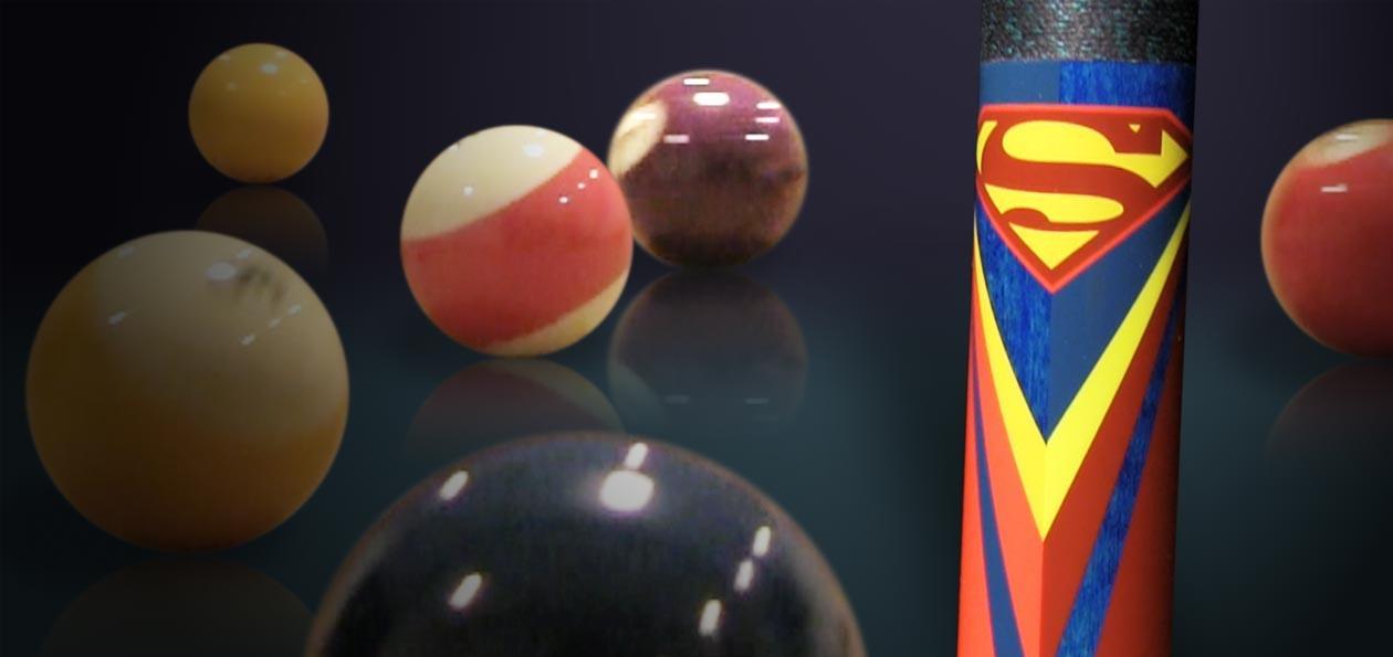 SUPERMAN POOL CUES