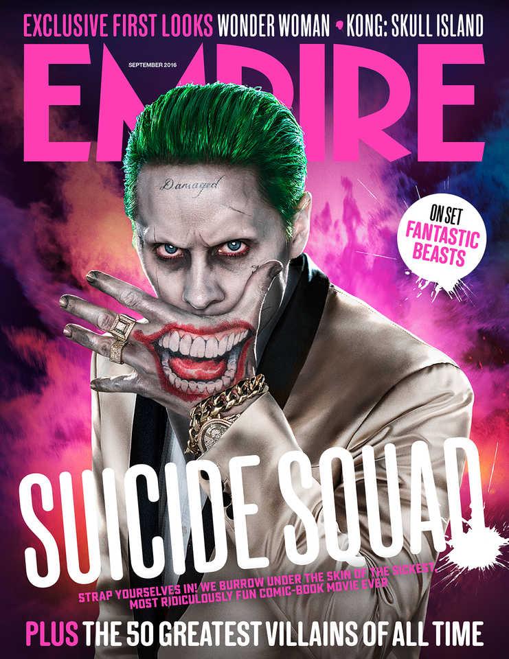 le joker et la suicide squad font la une du magazine empire. Black Bedroom Furniture Sets. Home Design Ideas