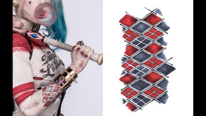 Un meilleur aperçu des tatouages de Harley Quinn dans Suicide Squad 7