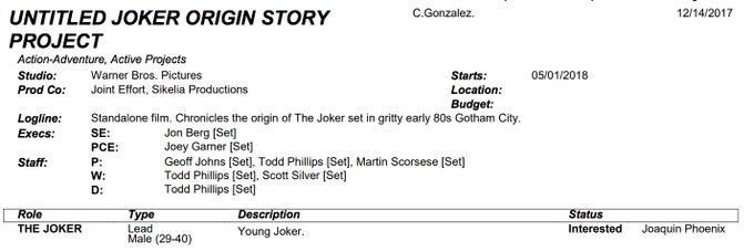 Joker : Le tournage du film débuterait en Mai 1