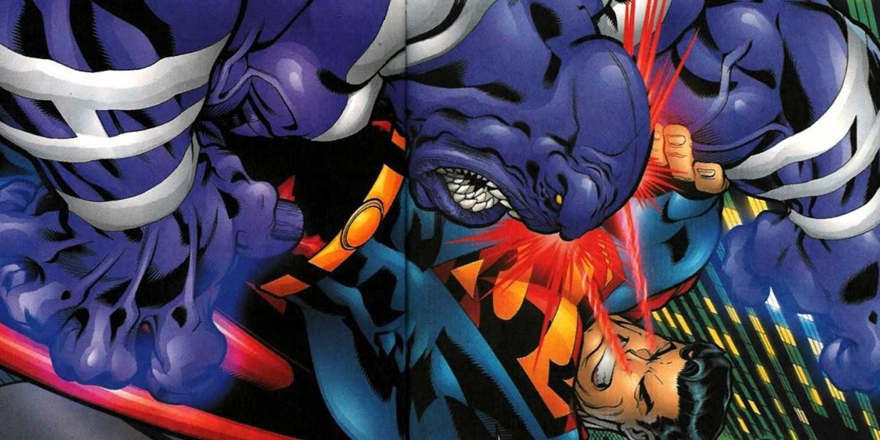 superman contre le parasite en train de se mettre sur la gueule