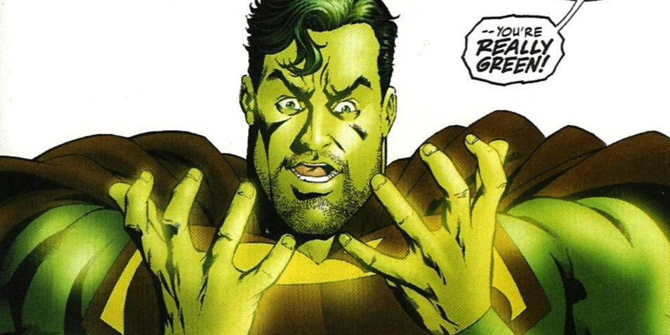 supeman se rendant compte qu'il est infecté par la kryptonite