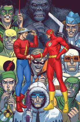 Flash parcourt les décennies dans les variant covers de son #750 3
